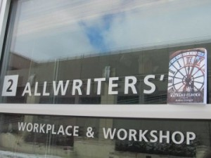 AllWriters' Logo with Kathie's First Book Home for Wayward Clocks